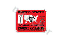 2x USA Zombie hunting permit sticker decal car truck bumper windows laptop
