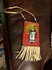 Native American Crow Beaded Pipe/Medicine/Tobacco Bag