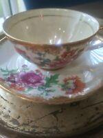 VTG NORCREST Japan Chintz Tea Cup & Saucer. Delicate Asian Floral Pattern. GUC.
