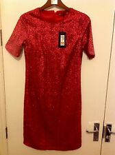 M&S COLLECTION New Short Sleeve Sequin Effected Shift Dress Size 10 Long