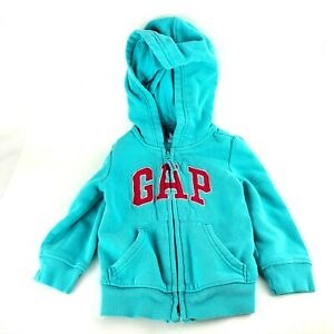 Baby GAP Toddler's Teal Long Sleeve Logo Hoodie Size 18-24 Months Pink Letter