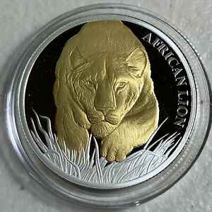 2017 Chad S5000F African Lion 1oz Silver Gilt Proof in display holder