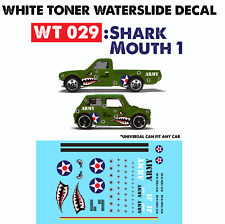 WT029 White Toner Waterslide Decals > SHARK MOUTH 1 >For Custom 1:64 Hot Wheels