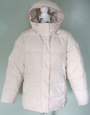 L.L. BEAN Womens White Hooded Goose Down Quilted Insulated Jacket Coat Sz Medium