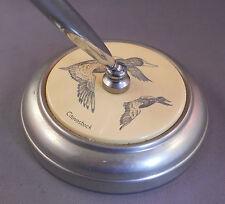 Canvasback Duck Chrome Desk Set--Sheaffer brown desk ball pen