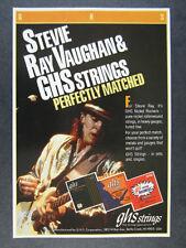 1988 stevie ray vaughan photo GHS Guitar Strings vintage print Ad