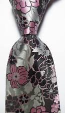 New Classic Floral Gray Black Pink JACQUARD WOVEN 100% Silk Men's Tie Necktie