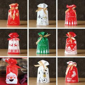 10/20 Drawstring Christmas Gift Bag Party Candy Bags Cookie Wrapping Pouch Xmas