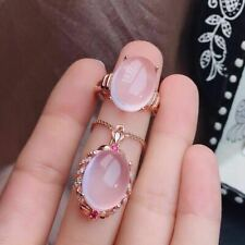 Natural Mozambican Pink/Rose Crystal 925 Sterling Silver Pendant Ring Set Gift