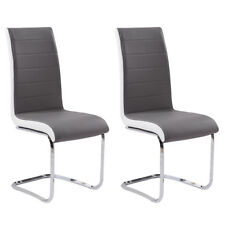 Grey White Side Dining Chairs 2/4/6 Set Leather Chrome Kitchen Room Furniture UK