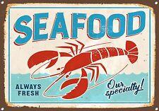 """SEAFOOD"" Metal Sign,Lobster Cooking, Retro, Enamel, No.691"