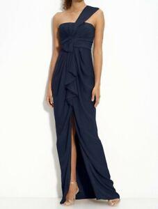 BCBGMaxAzria Navy Blue One Shoulder Bow Front Slit Formal Dress Size 12
