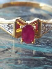 Ruby Oval Cut And Diamond Ring 10kt Solid Yellow Gold