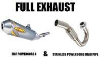 FMF FULL EXHAUST POWERBOMB HEADPIPE + POWERCORE 4 MUFFLER 96-04 XR400 XR400R