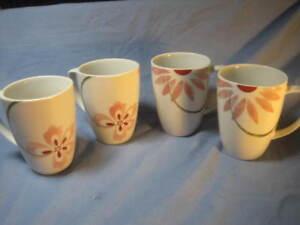 4 Corelle Coordinates Pretty Pink Square Porcelain White Coffee Tea Cup Mugs EUC