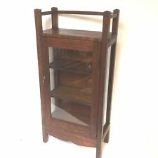 Charming Small Arts & Craft Tiger Oak Display Cabinet Bookcase
