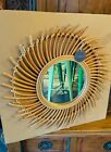 Round Rattan Wall Mirror Natural Sun Hanging Eclectic Boho Style Decor 23