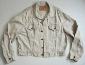 RARE Vtg 60s Levi's 941B White Pique Jacket 48 #3 Style Big E Trucker Jean NICE