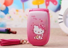 Flip Unlocked Cell PhoneSmall Woman Kid Girl Cute Hello Kitty Cartoon Mobile