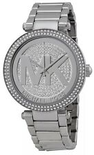 NEW MICHAEL KORS ORIGINAL WOMANS PARKER SILVER CRYSTAL PAVE STEEL WATCH MK5925