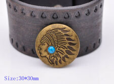 10x Antique Brass Navajo Indian Head Turquoise Leathercraft CONCHO SCREW BACK