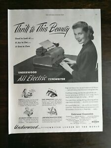 Vintage 1948 Underwood All Electric Typewriter Full Page Ad