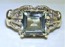 9CT YELLOW GOLD AQUA GREEN AMETHYST & DIAMOND RING SIZE N