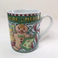 Mary Engelbreit 2002 Christmas Coffee Mug Cup The More The Merrier Love Santa