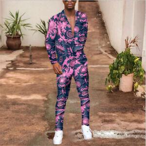 Mens Floral Outfit 2-Piece Set Short Sleeve T Shirts and Pants Sweatsuit Set