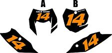 2014-2016 KTM 350EXC-F Custom Pre-Printed Black Backgrounds with Orange Numbers