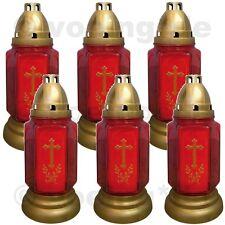Grablicht Grab-Licht Grabkerze Kerze Friedhofskerze aus Glas rot im 6er Set