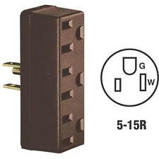 100 Pk Leviton 15A Brown 5-15R Convert Single To 3 Outlet Plug In Tap 005-697