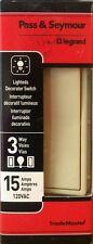 """Pass & Seymour 15A 3-Way Lighted """"Decora Style"""" Rocker Switch - Ivory"""