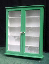 "16""x20 Refinished Antique Vintage Wood Wooden Wall Shelf Cabinet Wavy Glass Door"