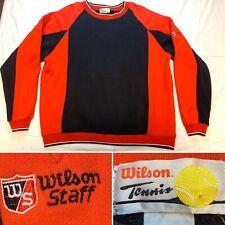 Vtg Wilson 80s 90s Black Red Tennis Staff Ringer Sweatshirt Crew Mens Xl Rare