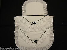 Beautiful Pram Quilt and Pillow Set suitable for MOST PRAMS  WHITE WITH BLACK