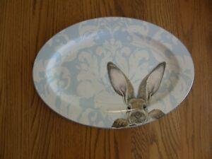 Williams Sonoma Damask Bunny Platter - Easter, Spring - Blue, White - New