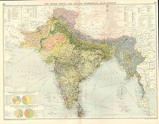 1928 mappa ~ IMPERO INDIANO & Ceylon sviluppo commerciale funzionamento MINERALI PIETRE