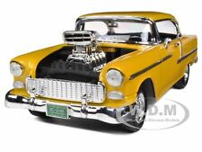 1955 CHEVROLET BEL AIR YELLOW WITH BLOWER 1/18 MODEL CAR BY MOTORMAX 79002