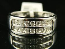 10K WHITE GOLD GENUINE 2 ROW BAND CHANNEL DIAMOND .50CT