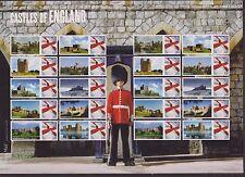 Hoja De Sellos GB QEII Smiler Umm estampillada sin montar o nunca montada 2009 castillos de Inglaterra LS59
