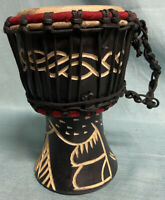 """NEW 8"""" Authentic Handmade Carved DJEMBE Goblet Rope-tuned Skin-covered DRUM"""