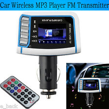 "1.44"" LCD Wireless FM Transmitter Car MP3 Player SD TF Card USB Drive Remote 12V"