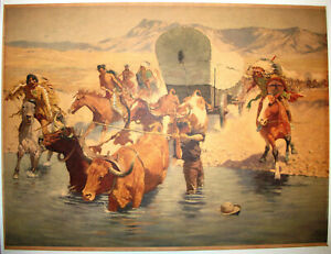 """1953 Board Lithograph """"The Emigrants"""" by Frederic Remington 18x24 Western Indian"""