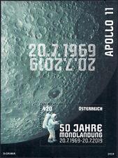 "2019 ""Austria"" Space, Apollo11, 50 Years of Moonlanding, Souvenirsheet VF/MNH!"