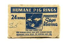 Vintage Humane Hog Ring Co. Winona Lake In Vintage Box of 14 Hog & Stoat Rings