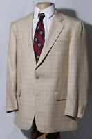 Hickey Freeman Camelhair Silk Beige Windowpane Mens Sport Coat Jacket Blazer 42R