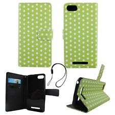 Protective Cover For Wiko Lenny 3 Polka Dot Green Bag Cover Book Style Wallet