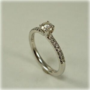 0.50 Ct Round Cut Moissanite Engagement Proposal Ring 14K White Gold Size L