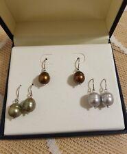 Honora Ringed/Barrel Pearl Drop Earrings 3 Color Wardrobe Sterling Silver NIB !